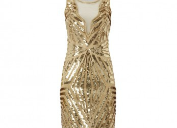 Fabelhaft Abendkleid Gold Pailletten