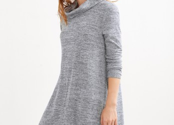Ideal Kleid Grau Langarm
